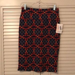 NWT LuLaRoe Cassie Skirt Size Small Blue/Red/Yellow with Flower and Bird Print